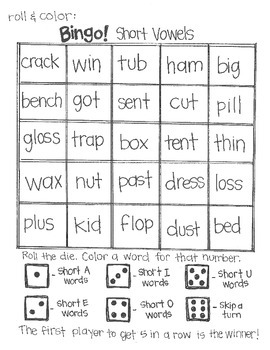 ***FREE***Roll & Color BINGO: Short and Long Vowels SAMPLE