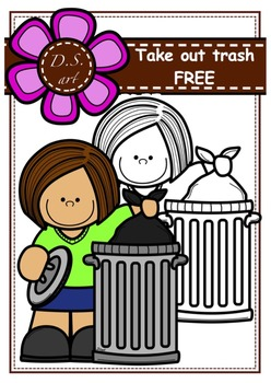 FREE_Take out trash  Digital Clipart (color and black&white)