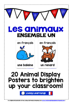 FRENCH ANIMALS (1) - CLASSROOM DECOR - 20 DISPLAY POSTERS