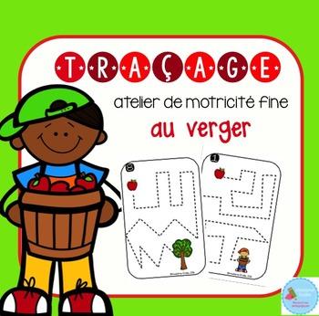 FRENCH Apple Tracing Mats/ Atelier motricité fine (traçage