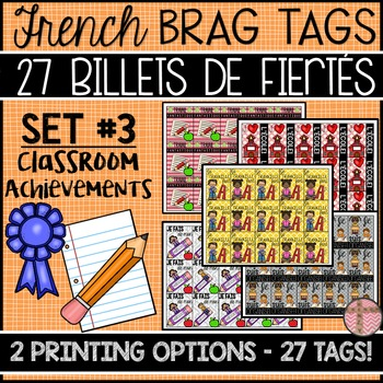 FRENCH BRAG TAGS - BILLETS DE FIÈRTÉ (SET: CLASSROOM ACHIE