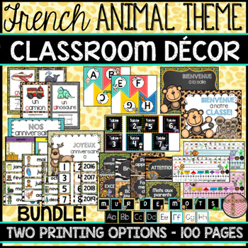 FRENCH CLASSROOM DECOR - ANIMALS THEME (BACK-TO-SCHOOL/REN