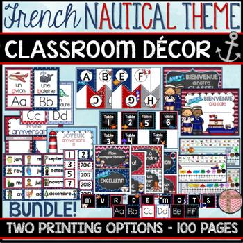 FRENCH CLASSROOM DECOR - NAUTICAL THEME (RENTRÉE SCOLAIRE