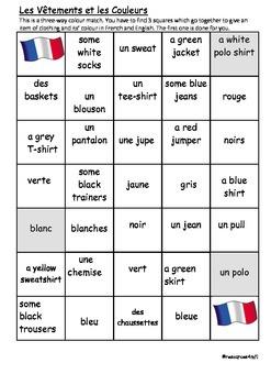 FRENCH - COLOUR MATCH - Les Vêtements et les Couleurs (Clo
