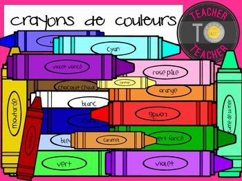 FRENCH Colouring Crayon Clipart {TeacherToTeacher Clipart}