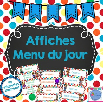 FRENCH Daily Schedule Cards- Colourful Polka dots/Menu du