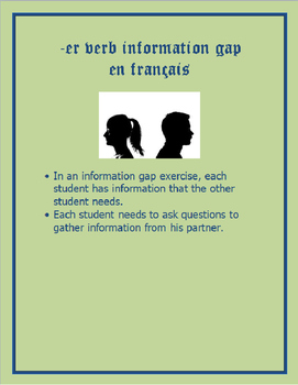 FRENCH -ER Verb Information Gap (Simple)