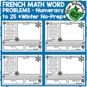 FRENCH Math Word Problems Winter Theme
