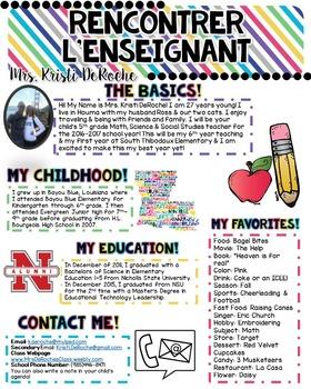 FRENCH- Meet the Teacher Newsletter- EDITABLE- Bright Stripes