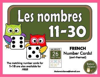 FRENCH Number posters/ Affiches de nombres (Numbers 11-30)
