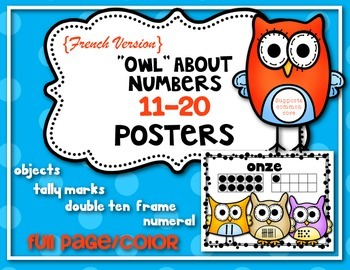 """FRENCH: """"Owl"""" About Numbers {Math Posters 11-20} Kindergar"""