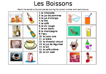 FRENCH - PICTURE MATCH - Les Boissons (Drinks)