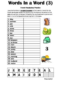 FRENCH - PUZZLE - Words in a Word (3)