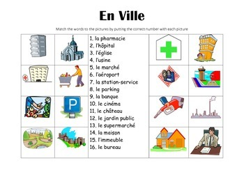 FRENCH - Picture Match - En Ville (In Town)