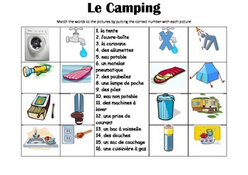 FRENCH - Picture Match - Le Camping