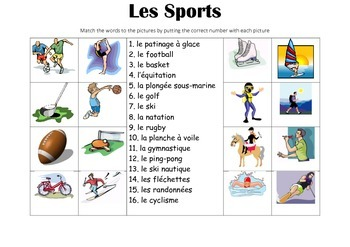 FRENCH - Picture Match - Les Sports (sport)