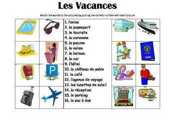 FRENCH - Picture Match - Les Vacances (Holidays/ Vacations)