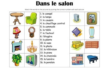 FRENCH - Picture match - Dans le salon (In the living room)