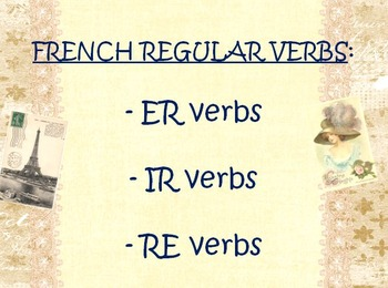 FRENCH REGULAR VERBS: PP Lesson on conjugations of ER, -IR