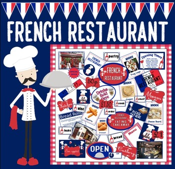 FRENCH RESTAURANT ROLE PLAY TEACHING RESOURCES KS1-2 DISPLAY FOOD