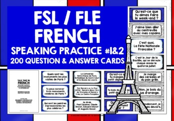 FRENCH SPEAKING PRACTICE (1 & 2) - 100 Q & A PROMPT CARDS