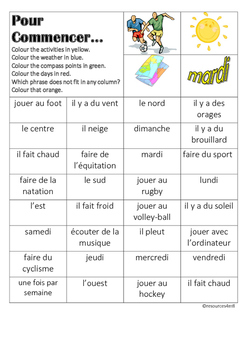 FRENCH - STARTER - COLOUR MATCH (leisure activities/ weath