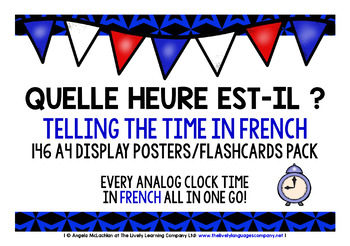 FRENCH TELLING TIME 146 POSTERS PACK - ALL ANALOG CLOCK TIMES!