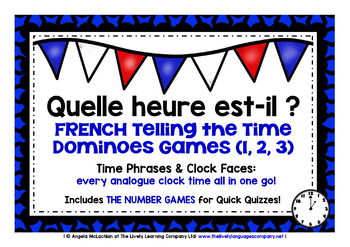 FRENCH TELLING THE TIME DOMINOES GAMES PACK