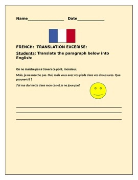 FRENCH TO ENGLISH TRANSLATION QUIZ-FUN EXERCISE