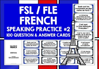 FRENCH SPEAKING PRACTICE (2) - 50 Q & A PROMPT CARDS & ACTIVITIES
