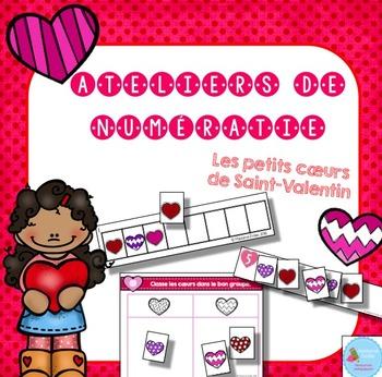 FRENCH Valentine Math Centers/ Ateliers numératie (coeurs