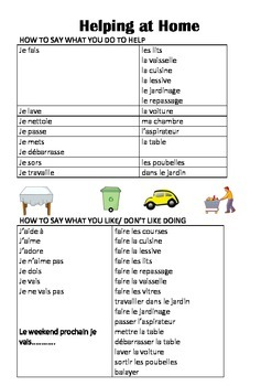 FRENCH - WORKSHEETS - Helping at home