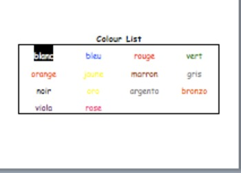 Word activities for colours in French