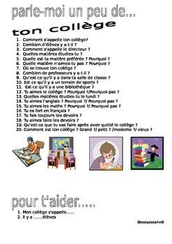 FRENCH - speaking practice- PARLE-MOI UN PEU....DE TON COLLEGE