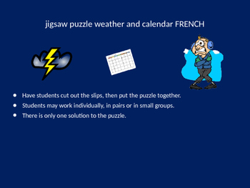 FRENCH weather and calendar jigsaw puzzle