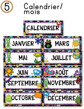 FRENCH/Classroom decor pack/Les monstres (calendrier/mois)
