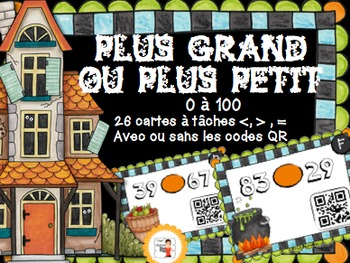 Halloween//Codes QR IPAD /Plus grand, plus petit que {0 à 100}
