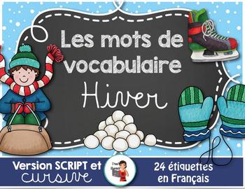 L'HIVER - 24 Mots-étiquettes (script et cursif)