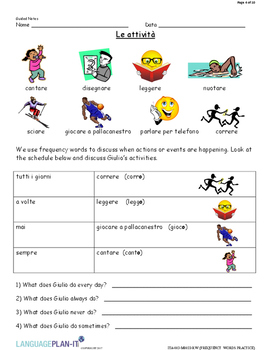 FREQUENCY WORDS PRACTICE (ITALIAN 2017 EDITION)