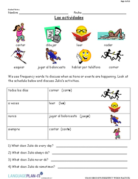 FREQUENCY WORDS PRACTICE (SPANISH 2017 EDITION)