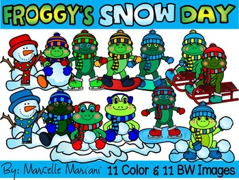FROGGY'S  SNOW DAY- WINTER FROGS CLIP ART (22 IMAGES)