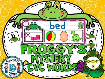 FROGS- SHORT E-MYSTERY CVC  LITERACY CENTRE CVC TASK CARDS