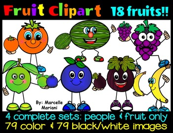 FRUIT CLIP ART- FRUIT CARTOON CLIP ART- 158 IMAGES- COMMER