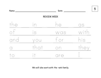 FRY Wall Words 5th Week Review Pages