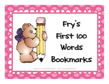 FRY'S FIRST 100 WORDS BOOKMARKS