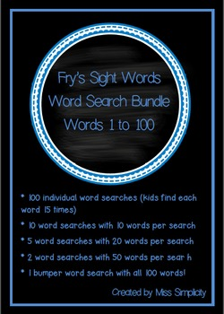 FRY'S SIGHT WORDS word search sleuth BUNDLE 118 word searches!