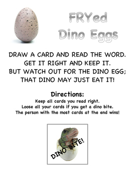 FRYed Dino Eggs (The first 100 FRY sight words game)