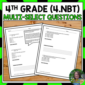 4th Grade Multi-Select Questions (Number and Operations in