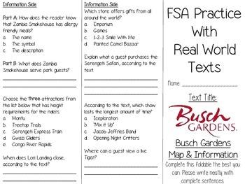 FSA Real World Text Practice - Busch Gardens Park Map (Tampa)