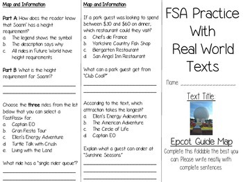FSA Real World Text Practice - Epcot Guide Map